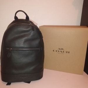 Men's Slim Coach pebble leather backpack.